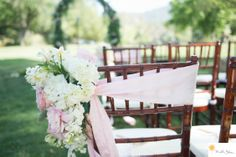 Malibou Lake Mountain Club Wedding Pictures Side bow with flowers Michelle Johnson Photography