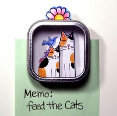 Calico Cat Mother and Kitten Shadow Box refrigerator magnet by SusanFayePetProjects, $9.00