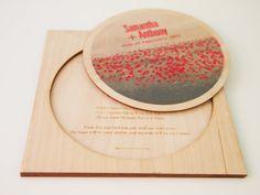 Red poppies- Laser cut invite - Wedding stationery - http://www.classicweddinginvitations.com.au/red-poppies-digital-print-on-wood-wedding-invitation/ - From $18.50