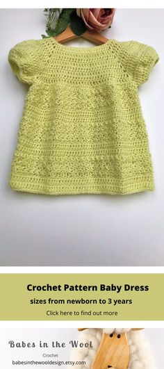 Crochet Pattern Baby Dress - Newborn to 24 months Modern Crochet Patterns, Baby Knitting Patterns, Baby Patterns, Baby Girl Crochet, Cute Crochet, Knitted Baby, Crochet Ideas, Tunic Dress Patterns, Selling Crochet
