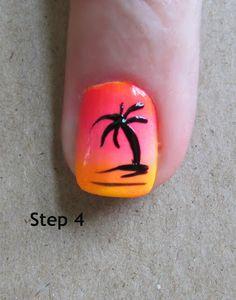 Step by step palm tree nail art tutorial cruise nails, vacation nails, palm tree Nail Polish, Nail Manicure, Toe Nails, Cruise Nails, Vacation Nails, Bright Summer Nails, Bright Nails, Fingernail Designs, Cool Nail Designs