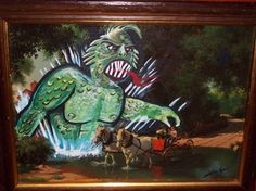 Funny Re-purposed thrift store painting ---- Monster from the creek strikes again