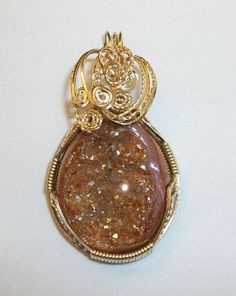 Brown/Copper colored Natural Agate Titanium by JoaniesCreations, $62.00