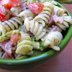 Dinner Side Dish Bacon Tomato Avocado Pasta Salad:     6 slices bacon, chopped into one inch pieces      1/2 pound dried rotini pasta      1/2 cup mayonnaise      juice of 1 lemon      1/2 teaspoon salt      1/2 teaspoon garlic powder      1/4 teaspoon white pepper      1 teaspoon dried dill      1 cup halved cherry tomatoes      1 avocado pitted and sliced  Double batch makes enough for 3 people as main course. 01/10/14