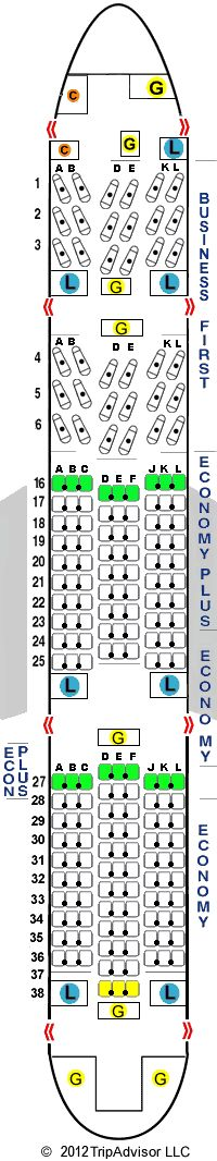 United Airlines Boeing Jet Seating Map Aircraft Chart - Us airways seating map