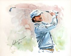 Mark Robinson Watercolour painting of Graeme Mcdowell. #golf #art #dubai #nireland #graememcdowell Note: Visit the Mark Robinson website for more details for available stock, commissions or tournament enquiries - www.robinsongolfart.com