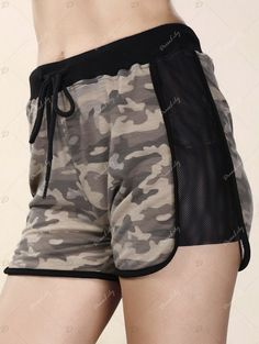 Trendy High-Waisted Spliced Camo Print Women's Shorts - COLORMIX S