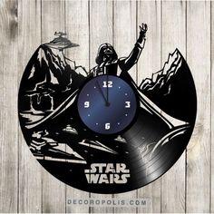 Star Wars wall clock from laser engraving vinyl record