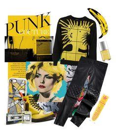 """Yellow punk"" by mumoka on Polyvore featuring Giamba, Casetify, Moschino, Tommy Hilfiger, Dr. Martens, Nails Inc., Andy Warhol, yellow, Punk and alternative"