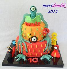 mavi demlik mutfağı- izmir butik pasta kurabiye cupcake tasarım- şeker hamurlu-kur: DENİZ'İN CANAVAR TEMALI 10. YAŞ DOĞUM GÜNÜ PASTASI...