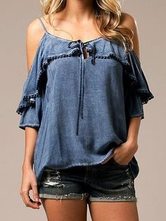 Dust your shoulders off, in this Adorable Dusty Blue Top!! 100% Rayon