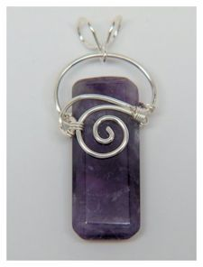 Wire Wrap Pendant - Amethyst Tab with Sterling Silver Spiral