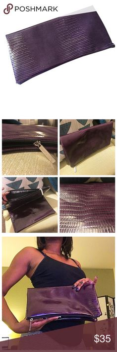 Nordstrom | Purple Foldover Clutch It's pretty in purple when you're carrying this clutch handbag by Nordstrom! Faux leather shell featuring reptile print, with black lining inside and silver zipper bearing the brand's name. Like-new condition! Open to offers 😃✌🏾️ Nordstrom Bags Clutches & Wristlets
