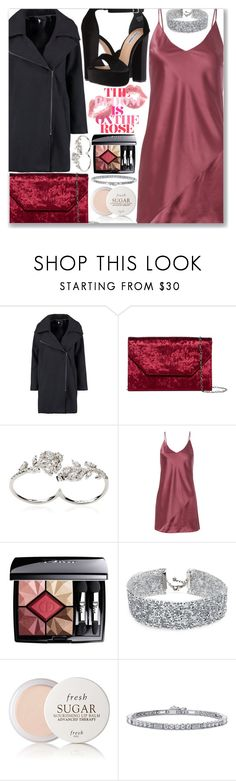 """""""Night out"""" by kueenly ❤ liked on Polyvore featuring Boohoo, Halogen, Apples & Figs, Fleur du Mal, Christian Dior, DANNIJO, Fresh, BERRICLE and Steve Madden"""