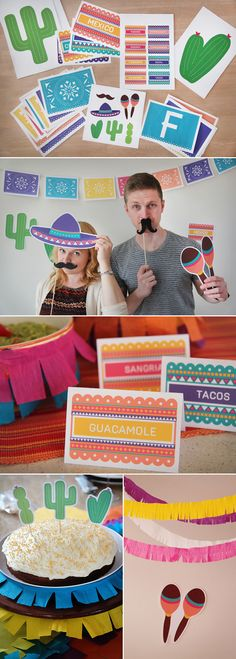 The ultimate or Cinco de Mayo party decoration kit - DIY printable and includes Papel Picardo, food and drink labels, photo booth props, cake toppers, and signage! Mexican Dinner Party, Mexican Birthday Parties, Mexican Fiesta Party, Fiesta Theme Party, Taco Party, Mexican Night, Mexican Party Decorations, Thinking Day, Partys