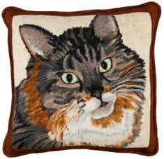 """Original design by Peggy Hannum & hooked by her, named: """"Grand Cat""""...just a beauty in all the great details!  Superb!"""