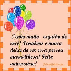 Mensagem de aniversário ilustrada com Balões