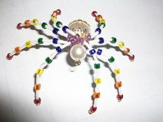 Rainbow Spider with Pearl Body | juniquegoods - Accessories on ArtFire