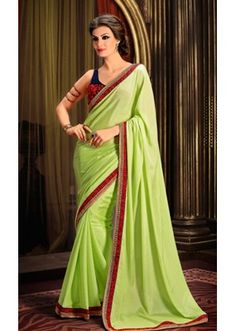 Ethnic Wear Green & Black Georgette Saree  - 73321
