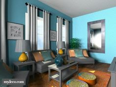 teal living rooms | Teal and Orange living room.