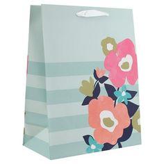 Light blue polka dot and floral gift bag spritz target gift blue and pink floral gift bag spritz target negle Images