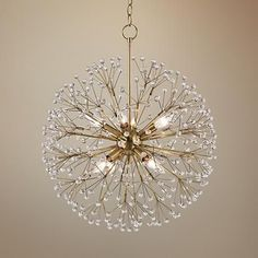 Dandelion Available in a stunning aged brass finish, Hudson Valley's Dunkirk chandelier boasts a starburst shape created by faceted crystal spheres. Bedroom Light Fixtures, Kitchen Lighting Fixtures, Bedroom Lighting, Dining Lighting, Rustic Lighting, Cool Lighting, Office Lighting, Lighting Stores, Luxury Chandelier