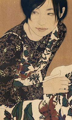 Contemporary Artist: Ikenaga Yasunari (b. ) -Ikenaga Yasunari (right) with collector and recent painting Born in artist Ikenaga Yasunari's serene and soothing portraits of modern women. Japanese Drawing, Japanese Painting, Art And Illustration, Illustrations, Art Conceptual, L'art Du Portrait, Portraits, Portrait Paintings, Abstract Portrait