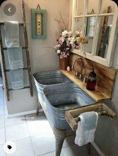 Rustic Bathroom Designs, Rustic Bathroom Vanities, Rustic Bathrooms, Bathroom Ideas, Bathroom Sinks, Downstairs Bathroom, Master Bathroom, Rustic Kitchen Decor, Country Kitchen