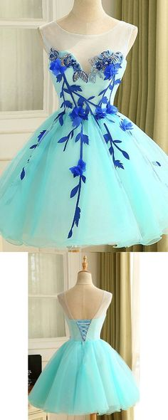 Ball Gown Tulle Homecoming Dress Beautiful A Line Flower Short Prom Dress Party Dress by MeetBeauty, $124.79 USD