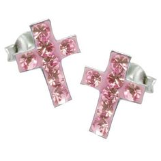 So Chic Jewels  925 Sterling Silver Clear Pink Crystal Jesus Christ Cross Crucifix Stud Earrings >>> More info could be found at the image url.