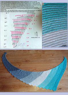 Můj první dračí šátek - my first dragon tail shawl - meine erste drachenschwanz - duhové klubko č. 29, háček č. 3