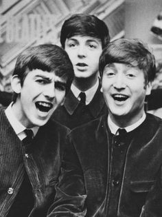 1963 - George Harrison, Paul McCartney and John Lennon.