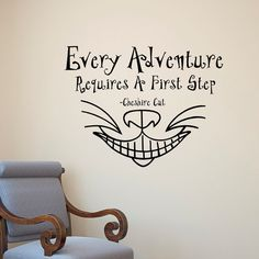 Alice In Wonderland Wall Decal Quote Every Adventure Requires A First Step Cheshire Cat Smile Bedroom Nursery Kids Wall Art Home Decor Q170