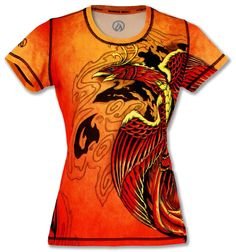 Shop INKnBURN for this vibrant and colorful Phoenix Tech Shirt! Amazing color in comfy and cooling workout top.