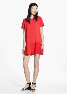 #Mango red short-sleeve dress