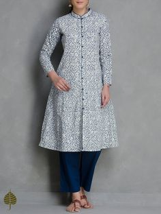Buy Indigo White Kalamkari Printed Button Down Cotton Kurta by Jaypore Women…