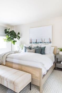 Beautiful small guest bedroom with coastal artwork   boho bedroom   small bedroom   coastal bedroom Coastal Master Bedroom, Master Bedroom Design, Home Bedroom, Bedroom Decor, Bedroom Ideas, Bedroom Beach, Modern Bedroom Design, Guest Bedrooms, Guest Room
