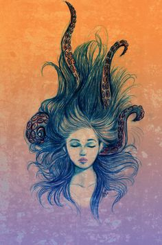 Gorgeous!! I love the blend of tentacles and hair, this would make an awesome piece