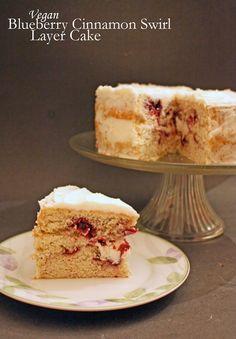 Vegan blueberry cinnamon swirl layer cake