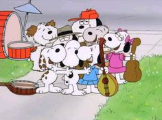 Snoopy with his brothers and sister