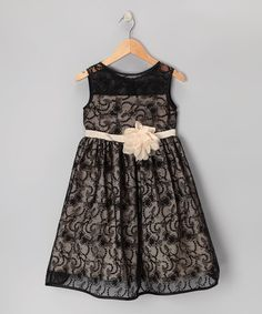 Look what I found on #zulily! Black & Champagne Lace Dress - Toddler & Girls #zulilyfinds