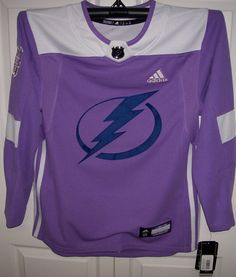 ... Hockey Fights Cancer Tampa Bay Lightning Purple 255J Adidas NHL  Authentic Pro Jersey ... 3c451285d