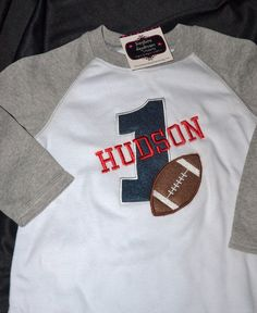 1st Birthday Raglan style Shirt Football number 1 and name personalized on Etsy, $26.95
