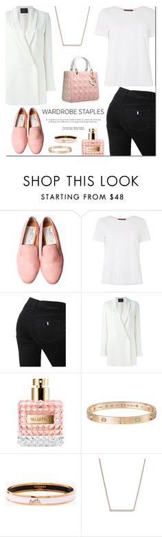 """Wardrobe Staple: White T-Shirt"" by stellaasteria ❤ liked on Polyvore featuring MaxMara, STELLA McCARTNEY, Braun, Lanvin, Valentino, Cartier, Hermès and Nadri"