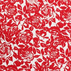 "Red Cabbage Roses on White Cotton Jersey Knit Fabric - Pretty red cabbage rose silhouette print on white cotton jersey knit.  Fabric has a small stretch, light to mid weight.  Biggest roses measure 5"". :: $5.50"