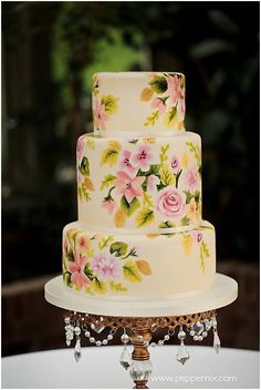 Pretty Hand Painted 3-Tiered Cake