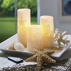 Better Homes and Gardens Flameless LED Pillar Candles Sea Shells >>> To view further for this item, visit the image link. (This is an affiliate link and I receive a commission for the sales) Fall Home Decor, Autumn Home, Flameless Candles, Pillar Candles, Sea Shells Image, Better Homes And Gardens, Accent Pieces, Wall Sconces, Lanterns