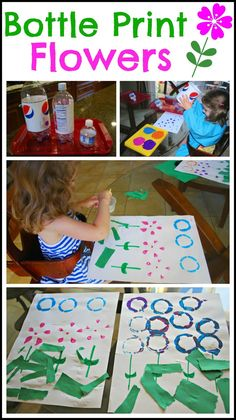 Bottle Print Flowers - Make pretty Spring flowers by recycling bottles and using paint.