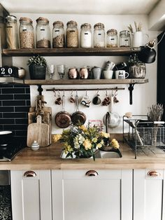 This homy style brings a friendly and inviting atmosphere to any home. Doesn't matter you live in the town or countryside, you owe big or small kitchen, you can create really unique and welcoming rustic kitchen design. Rustic Kitchen Decor, Home Decor Kitchen, Diy Kitchen, Kitchen Interior, Home Kitchens, Kitchen Dining, Kitchen Jars, Kitchen Ideas, Earthy Kitchen