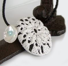 Crocheted Lace Beach Stone Necklace